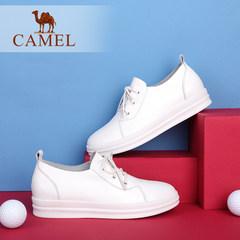 骆驼女鞋 2017春季新款平底小白鞋 真皮舒适纯色简约系带单鞋