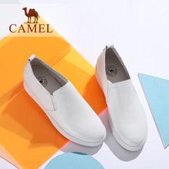 骆驼女鞋秋新款韩版真皮舒适纯色休闲中跟百搭气质单鞋小白鞋