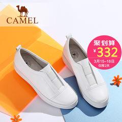 骆驼女鞋 秋季新款韩版真皮纯色简约低跟单鞋 舒适百搭小白鞋