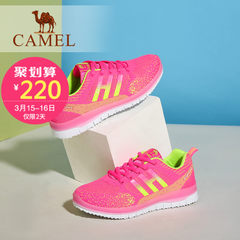 Camel/骆驼女鞋 新款时尚彩色舒适中跟平底运动鞋透气网鞋休闲鞋