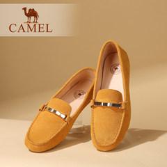 Camel/骆驼女鞋秋季新款豆豆鞋真皮轻便休闲舒适透气平底单鞋