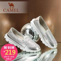 Camel/骆驼女鞋  秋季新款轻便休闲女鞋舒适平底水钻纯色单鞋