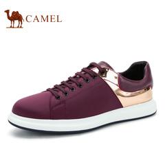 Camel/骆驼男鞋2016新品 时尚休闲板鞋 牛皮弹力布休闲鞋 男鞋子