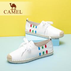 Camel/骆驼女鞋 2016夏季新款 小清新系带单鞋舒适圆头小白鞋女鞋