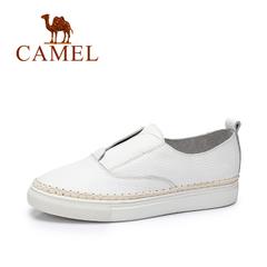 Camel/骆驼女鞋 2016秋季新款 简约小白鞋女时尚单鞋牛皮休闲女鞋