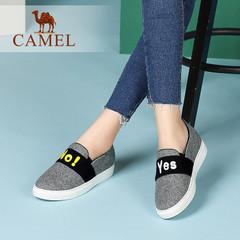 【内增高】camel骆驼女鞋  春季女鞋 圆头休闲毛呢布鞋