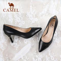 Camel/骆驼女鞋 2016秋季新款 尖头拼接高跟鞋 气质OL细跟单鞋