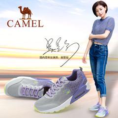 Camel/骆驼女鞋 夏季 网面系带渐变拼色气垫运动鞋跑鞋