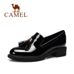 Camel/骆驼女鞋 2016秋季新款 时尚休闲单鞋简约圆头流苏装饰女鞋