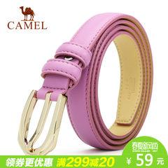 Camel骆驼新款女式牛皮皮带锌合金针扣裤带装饰百搭细腰带女