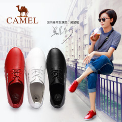 Camel/骆驼女鞋春季真皮轻便舒适单鞋百搭休闲鞋女平底鞋