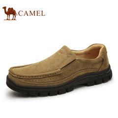 Camel/骆驼男鞋秋季运动户外鞋真皮牛皮耐磨套脚舒适户外休闲男鞋
