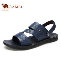 【断码清仓】Camel/骆驼男鞋夏季时尚休闲舒适耐磨牛皮两穿凉鞋男