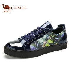 Camel骆驼男鞋 春季时尚英伦风印花拼色潮流休闲板鞋男