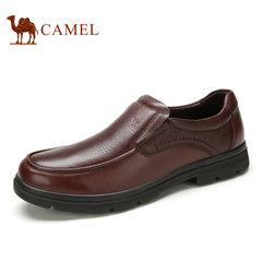 Camel骆驼男鞋 春季商务休闲牛皮舒适套脚男士皮鞋
