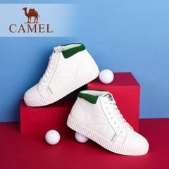 Camel/骆驼新款真皮舒适休闲中跟单鞋简约韩版高帮小白鞋