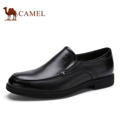 Camel/骆驼男鞋春季商务正装皮鞋男擦色牛皮圆头套脚皮鞋