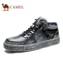 Camel/骆驼高帮男鞋冬季潮鞋复古高帮滑板鞋真皮休闲鞋