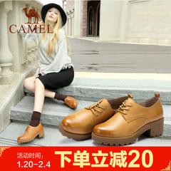 Camel/骆驼女鞋 秋冬复古休闲鞋舒适圆头系带方跟深口单鞋