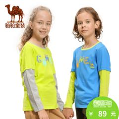 小骆驼童装春季男女童撞色拼接长袖青少年纯棉圆领T恤