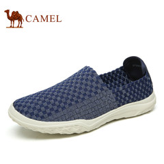 Camel/骆驼男鞋2017夏季新品柔软透气松紧编织日常休闲套脚男鞋