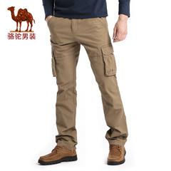 Camel/骆驼男装 2016秋季新款纯棉休闲中腰宽松工装裤纯色长裤男