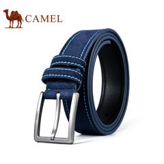 Camel/骆驼皮带 2016新款男士腰带 时尚休闲磨砂菱格针扣皮带男