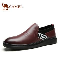 Camel/骆驼男鞋春季优质软牛皮时尚休闲牛皮套脚男鞋
