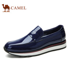 Camel/骆驼男鞋春季潮流时尚休闲男鞋套脚皮鞋英伦帆船鞋