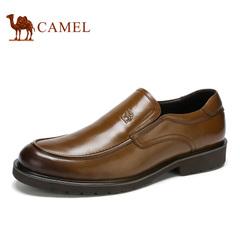 Camel/骆驼男鞋春季男士商务皮鞋复古擦色轻便套脚皮鞋男