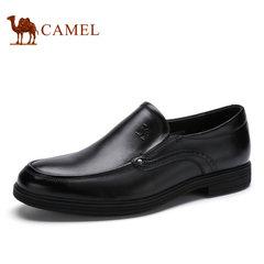 Camel骆驼男鞋 春季商务正装擦色牛皮圆头套脚商务皮鞋