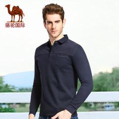 骆驼秋季新款时尚男士商务休闲长袖T恤 翻领修身T恤