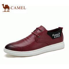 Camel/骆驼男鞋春季绅士拼接摔纹牛皮轻盈舒适潮流滑板鞋