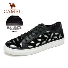 骆驼男鞋 秋季潮流日常 时尚耐磨休闲轻质滑板鞋羊皮板鞋系带鞋子