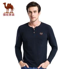 Camel/骆驼男装 2016秋季新款时尚都市青年T恤门筒领绣标休闲长袖