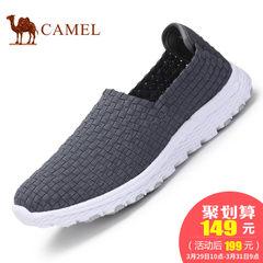 CAMEL骆驼情侣鞋 2017新品休闲松紧织带男鞋运动休闲鞋套脚女鞋