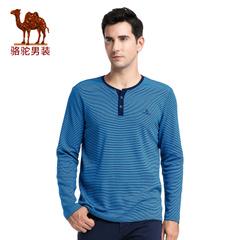 Camel/骆驼男装2016秋季新款时尚商务细条纹V领绣标休闲长袖T恤衫