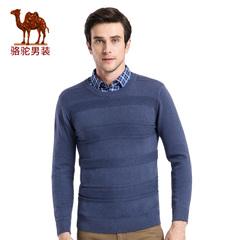 Camel/骆驼男装 2016秋季新款时尚青春流行纯色圆领修身长袖毛衣