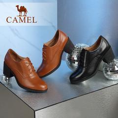 Camel/骆驼女鞋秋冬系带英伦复古优雅雕花气质粗跟单鞋