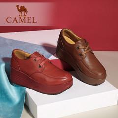 Camel/骆驼女鞋 春季 真皮休闲单鞋 系带舒适厚底松糕鞋