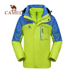camel/駱駝戶外 防風保暖透氣防水兒童三合一兩件套沖鋒衣