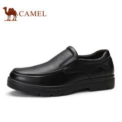 CAMEL骆驼男鞋2017新品休闲皮鞋 舒适耐磨商务男士时尚套脚低帮鞋