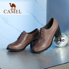 Camel/骆驼女鞋 春季 圆头系带百搭其实粗跟深口真皮单鞋