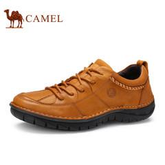 CAMEL骆驼牌男鞋2017时尚舒适耐磨男士休闲皮鞋手工缝线低帮鞋