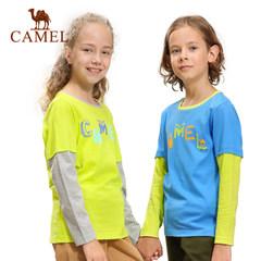 CAMEL骆驼撞色拼接长袖青少年纯棉圆领T恤