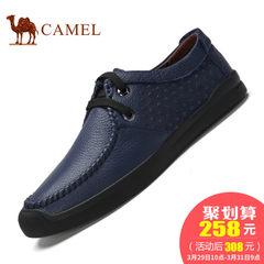 CAMEL骆驼2017新品休闲男士皮鞋 圆头系带低帮舒适耐磨皮鞋