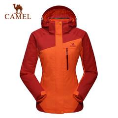 camel/骆驼户外冲锋衣 女款防水保暖三合一两件套冲锋衣