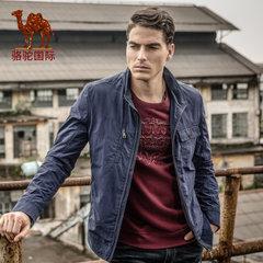 骆驼 秋季新款时尚休闲纯色长袖高领拉链多口袋夹克外套