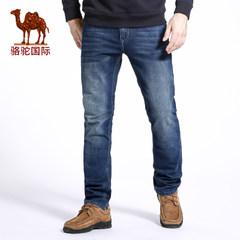 骆驼 秋季新款时尚男士商务休闲直筒微弹长裤 中腰牛仔裤