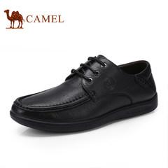 骆驼新品系带男鞋 日常休闲皮鞋男士舒适圆头低帮耐磨